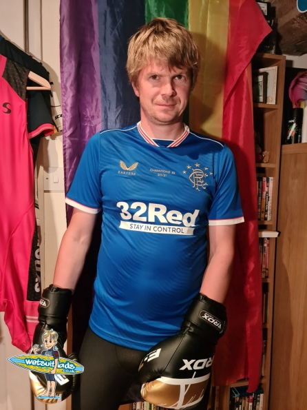 Rangers Champions Home Shirt and RDX Boxing Gloves