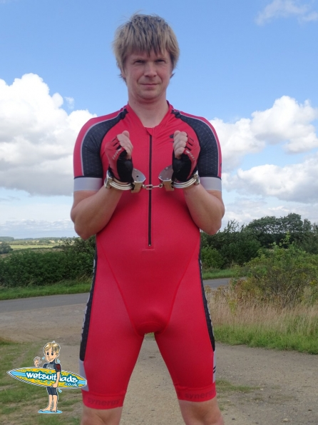 Synergy Red Cycling Skinsuit + Clejuso handcuffs