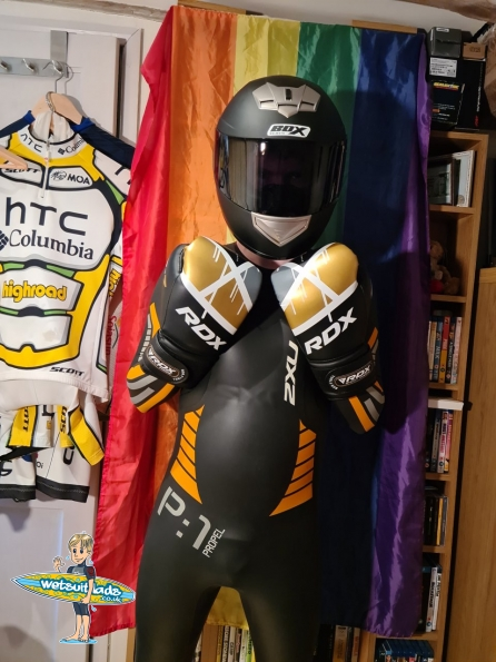 Black helmet and RDX Boxing Gloves