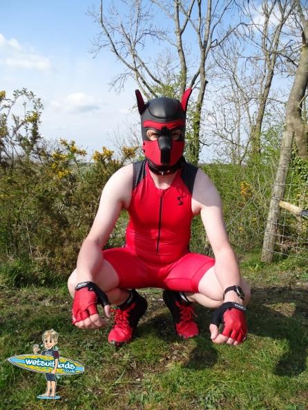 Synergy Red Trisuit + Neoprene Pup Hood